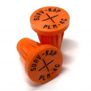 """Ribbed Rebar Cap for 1/2"""" rebar with 1/8"""" radial lettering and crosshair center mark"""