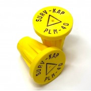 """Ribbed Rebar Cap for 1/2"""" rebar with 1/8"""" radial lettering and delta center mark"""