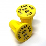 """Ribbed Rebar Cap for 1/2"""" rebar with 1/8"""" radial outer ring and 2 interior lines of 1/8"""" lettering"""