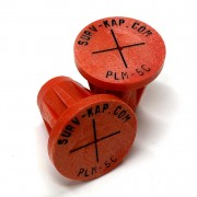 """Ribbed Rebar Cap for 5/8"""" rebar with 1/8"""" radial lettering and crosshair center mark"""