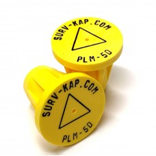 """Ribbed Rebar Cap for 5/8"""" rebar with 1/8"""" radial lettering and delta center mark"""