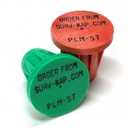 """Ribbed Rebar Cap for 5/8"""" rebar with 3 lines of 1/8"""" lettering"""