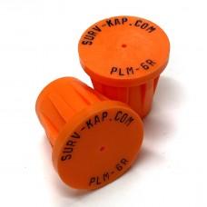 "Ribbed Rebar Cap for 3/4"" rebar with 1/8"" radial lettering"