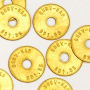 """Brass/Disc 1 1/2"""" Dia. x 1/16"""" Thick with 3/8"""" Hole (Plain)"""