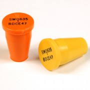 "Plastic Marker with recessed black letters for 3/8"" Rebar or 1/2"" pipe"
